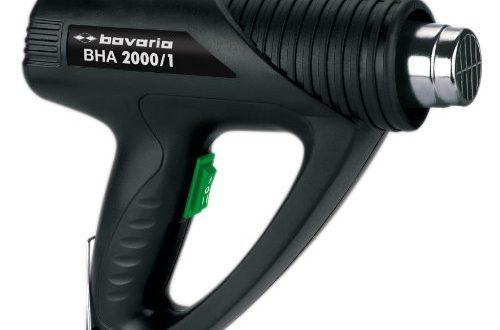 bavaria Heißluftpistole BHA 2000/1 (2000 W, bis 550 °C, 500 L/min, 2 Stufen, inkl. Reduzierdüse und Breitstrahldüse)